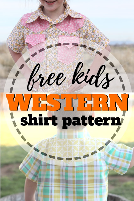 Free printable western shirt sewing pattern for kids size 18 months to 6 years