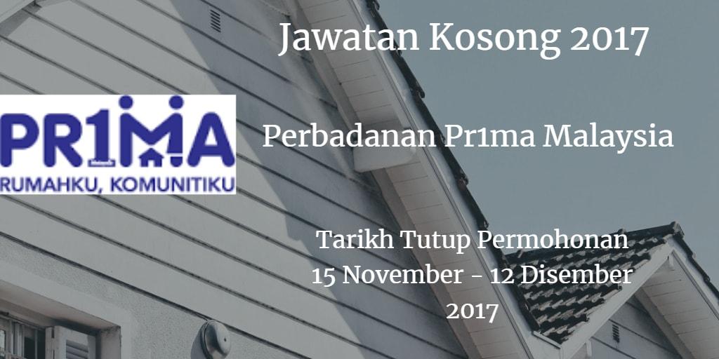 Jawatan Kosong Perbadanan Pr1ma Malaysia 15 November - 12 Disember 2017