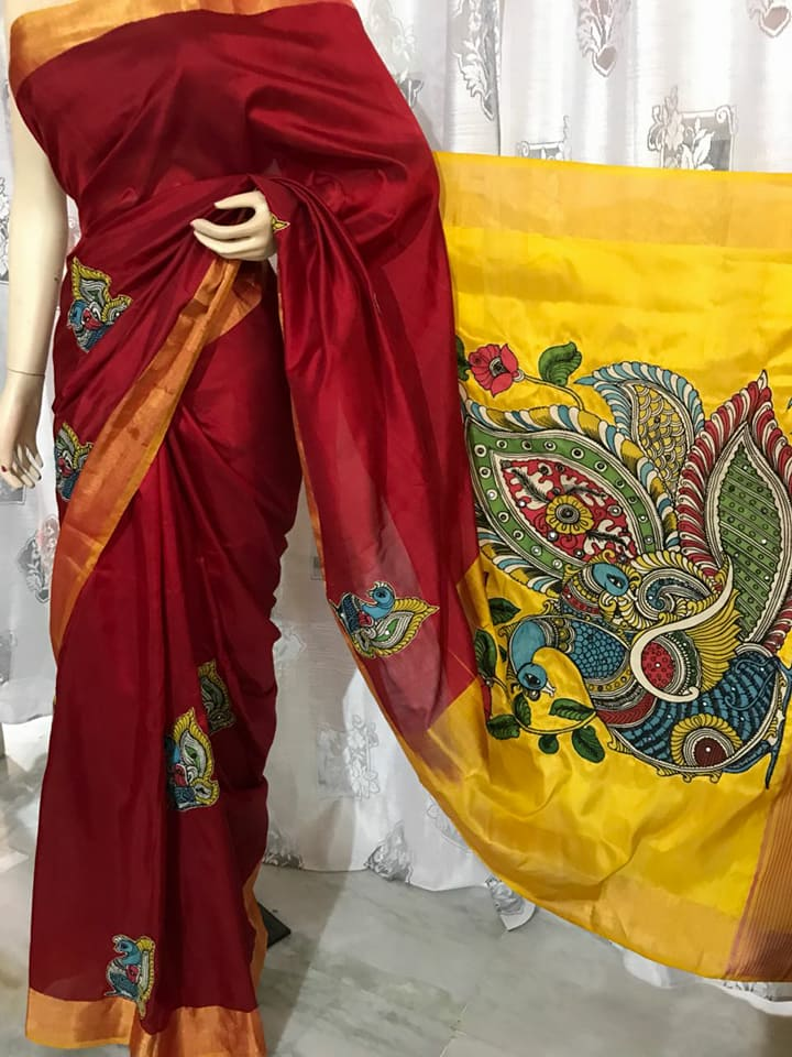 a194553b51ee75 pure handloom uppada pattu sarees with handpainted kalamkari applique work