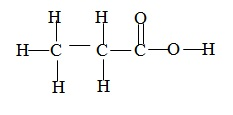 structure of propanoic acid, o level organic chemistry, carboxylic acid, CH3CH2COOH,