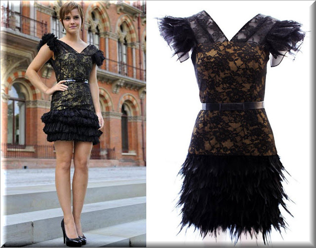 Mcberry beige lace feather dress