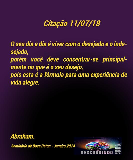 Citação diária Abraham Hicks - Citação do Dia 11/07/2018
