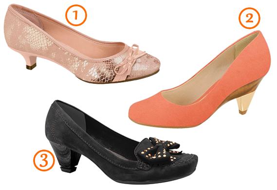Exemplos de Sapatos: 1) Moleca; 2) Beira Rio; 3) Dakota.