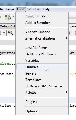 seleccionar la opción libraries