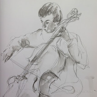 Geraldine van Heemstra - sketch made during rehearsals at Yehudi Menuhin School