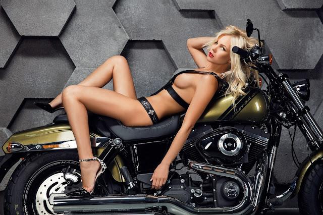 Dasha Snezhnaya, Harley Davidson - Image Unknown