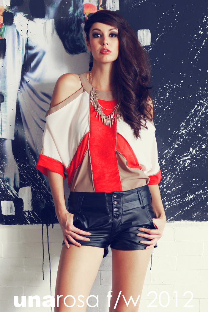 5a0b8de2 Meanwhile a geo-inspired top with classy cut-out shoulders gets a dose of  edge with some faux-leather shorts and a spiked necklace.
