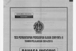 SOAL TPM atau TPPU tingkat SMP se-DIY (13-16 April 2015) BAHASA INGGRIS
