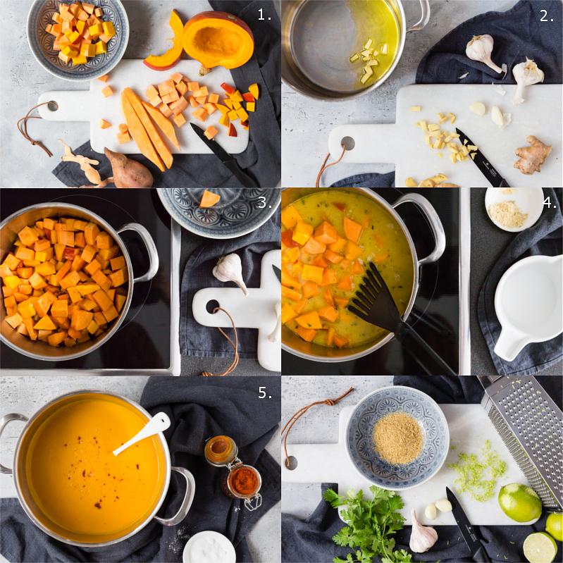 Step by Step Anleitung für Thai Kürbissuppe mit Süßkartoffeln