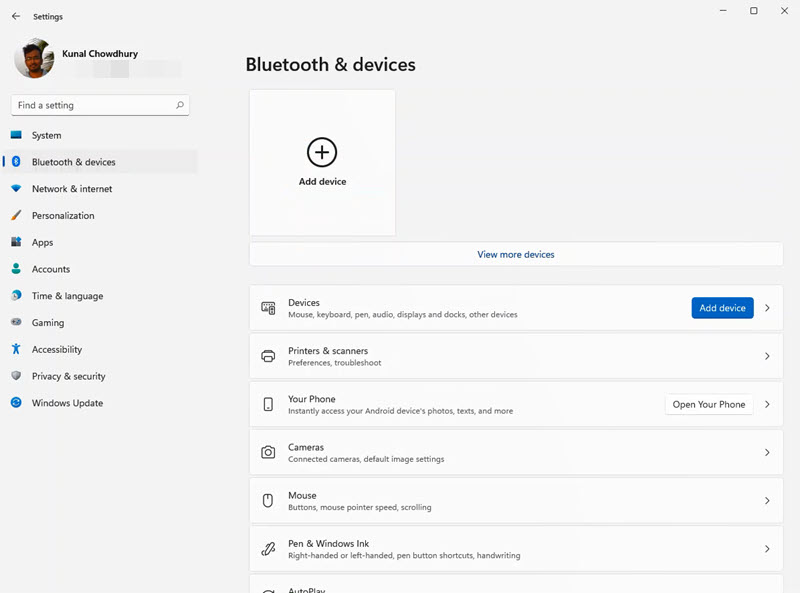 A quick look to Windows 11 Settings app - Bluetooth & devices