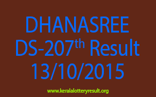 DHANASREE DS 207 Lottery Result 13-10-2015