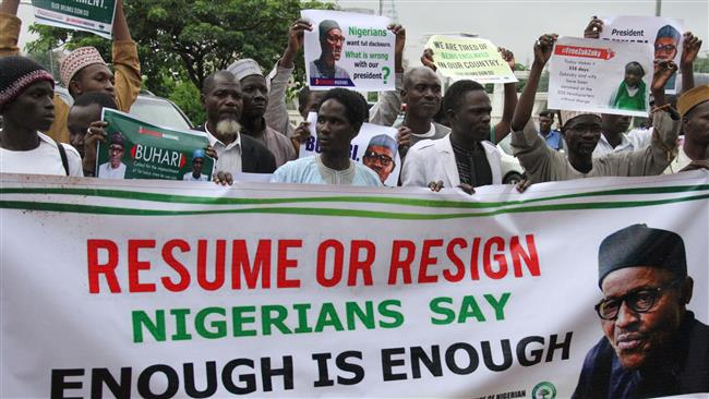 Nigerian protesters demand President Muhammadu Buhari return or resign