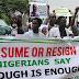 Nigerian protesters demand President Muhammadu Buhari return or resign