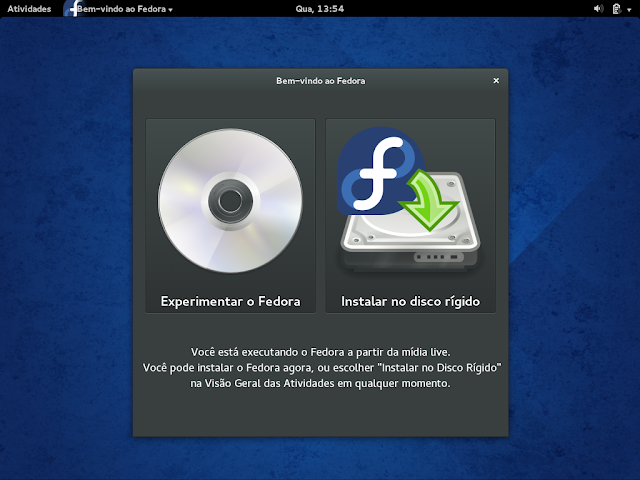 Instalação - Bem-vindo ao Fedora