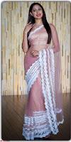 Pragya Jaiswal in lovely Transparent Lace Border Work Saree 1.jpg