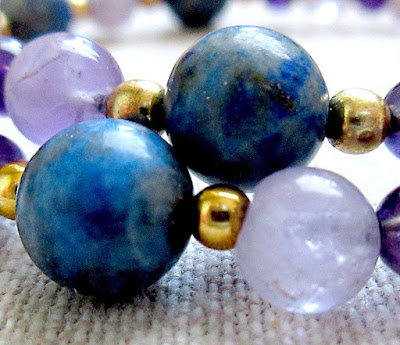 Science physics sciart jewelry Bohr amethyst lapis bracelet