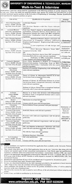 University of Engineering & Technology (UET) Mardan Jobs 2019