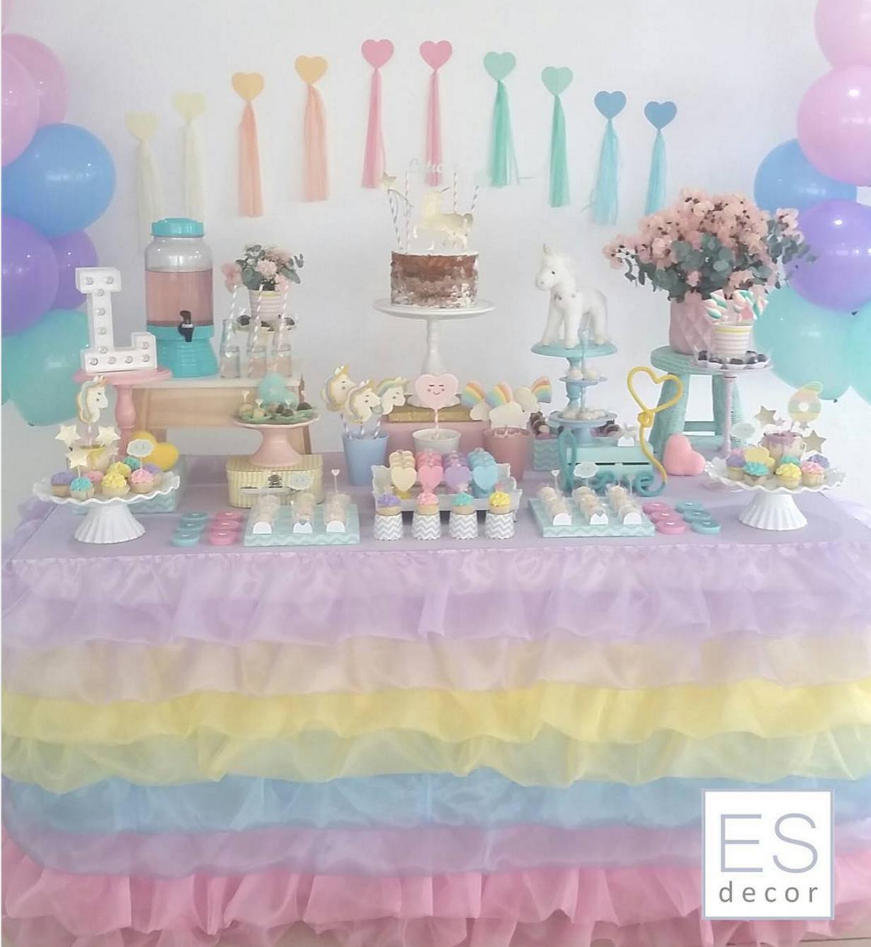 Ideas para decorar tu fiesta de unicornio - Como decorar una mesa para una fiesta ...