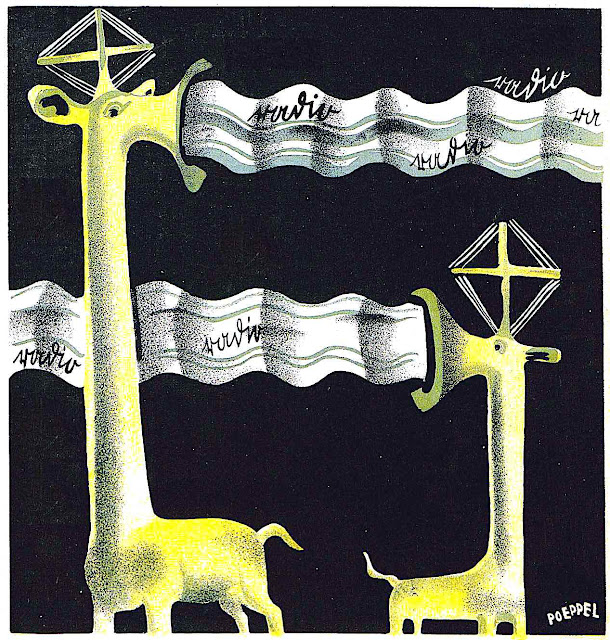 a Hermann Poeppel illustration of radio transmission 1924 as giraffes