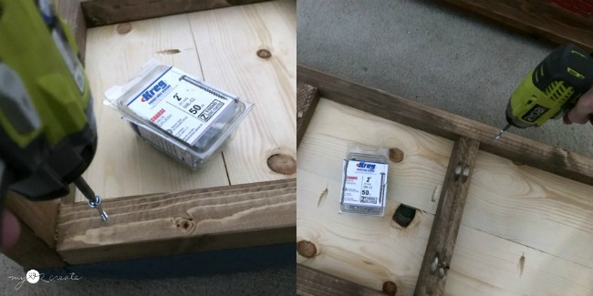 attaching bench top to bench frame