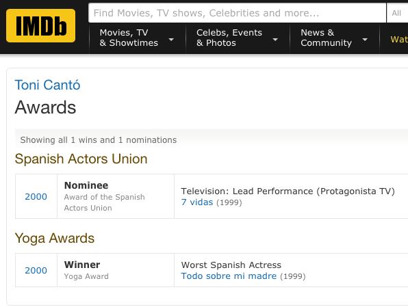 Premios ganados por Toni Cantó