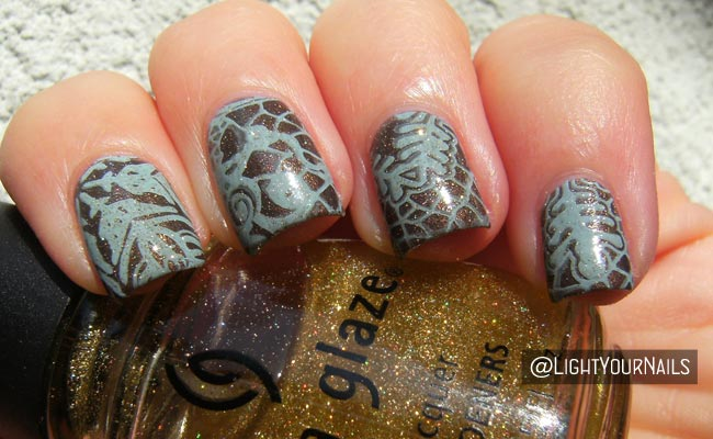 No Snowflakes Blue And Brown Stamping Light Your Nails