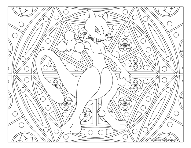 Mewtwo Pokemon Coloring Page  Windingpathsart