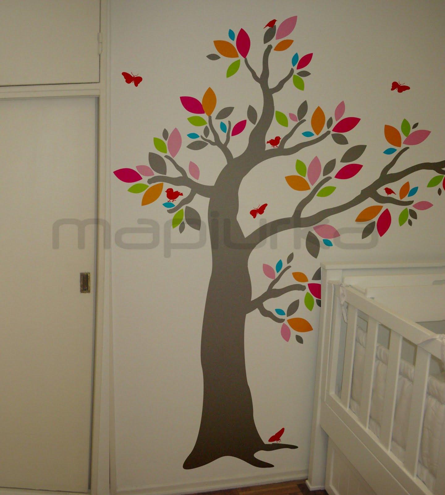 Mapiurka adhesivos decorativos ba arbol bosque multicolor for Adhesivos pared infantil