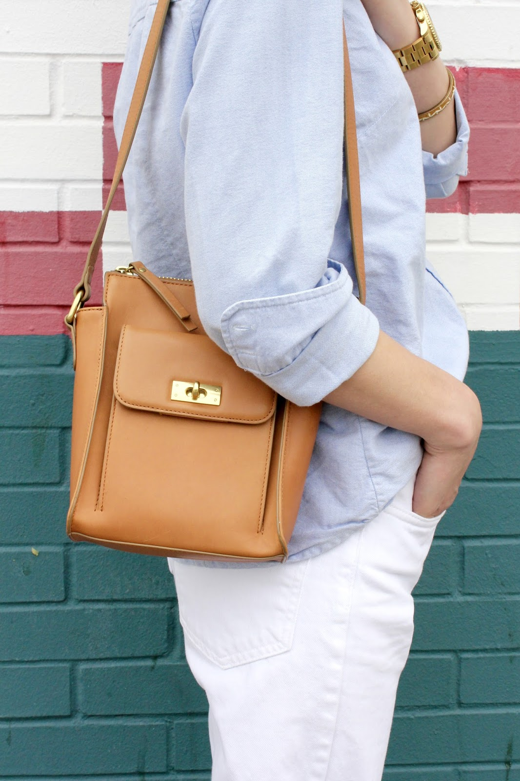 brown leather J.Crew purse