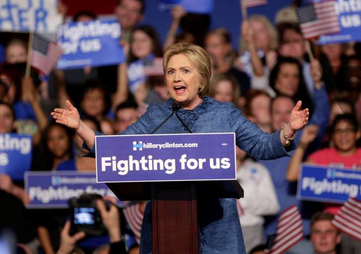Democratic presidential candidate Hillary Clinton speaks during a rally in West Palm Beach, Fla.