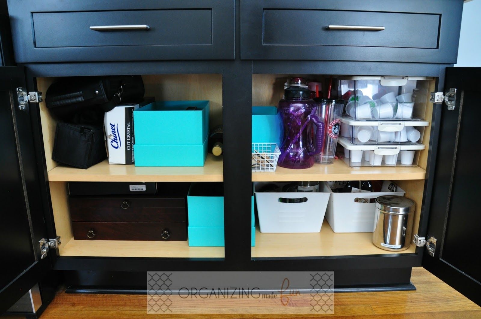Coffee/Wine Bar Bottoms Cupboard Organized :: OrganizingMadeFun.com