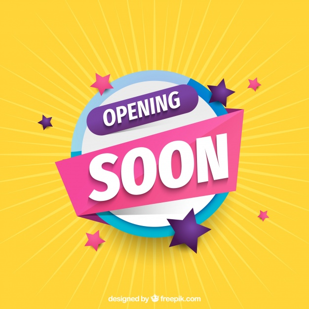 Opening soon background with typography memphis style Free Vector