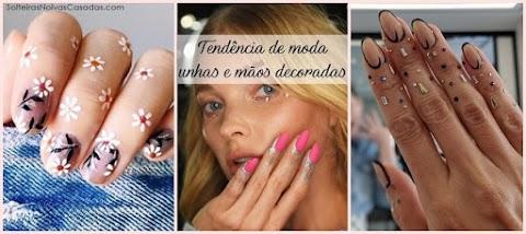 Tendência de moda unhas e mãos decoradas