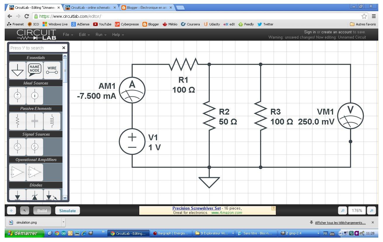 lectronique en amateur circuitlab un diteur et simulateur de circuits en ligne. Black Bedroom Furniture Sets. Home Design Ideas