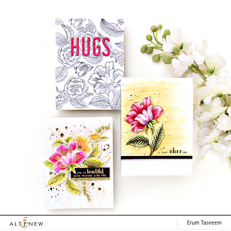 Altenew Engraved Flowers | Erum Tasneem | @pr0digy0