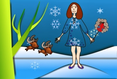 Mrs. Claus recalls the time Kris Kringle gave her a ride in his reindeer-drawn carriage when they first met. Images from openclipart.org.