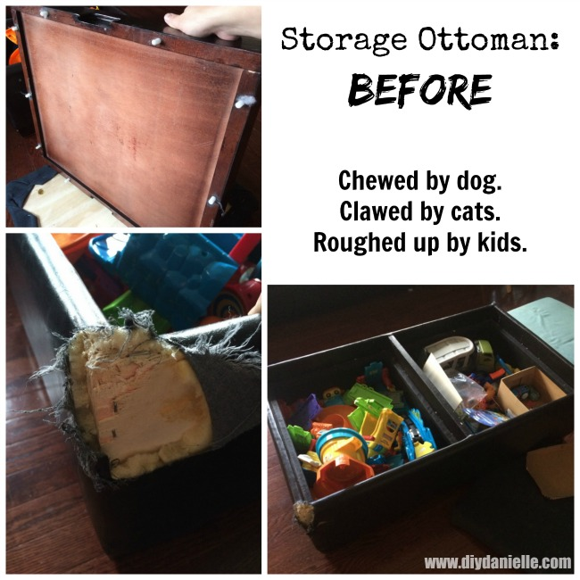 Before Pictures on a Updated Storage Ottoman