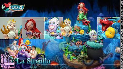 Tarta personalizada fondant La Sirenita Ariel Triton Ursula Sebastian Laia's Cupcakes Puerto Sagunto