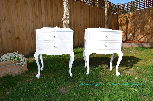 Queen Anne Vintage Bedside Tables Painted White White White!