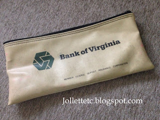 Bank of Virginia bank deposit bag  http://jollettetc.blogspot.com