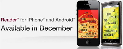 Sony Reader app for iPhone and Android in December