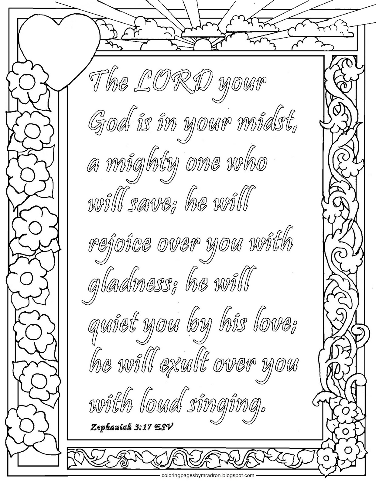 Coloring Pages for Kids by Mr. Adron: Zephaniah 3:17 Print and ...