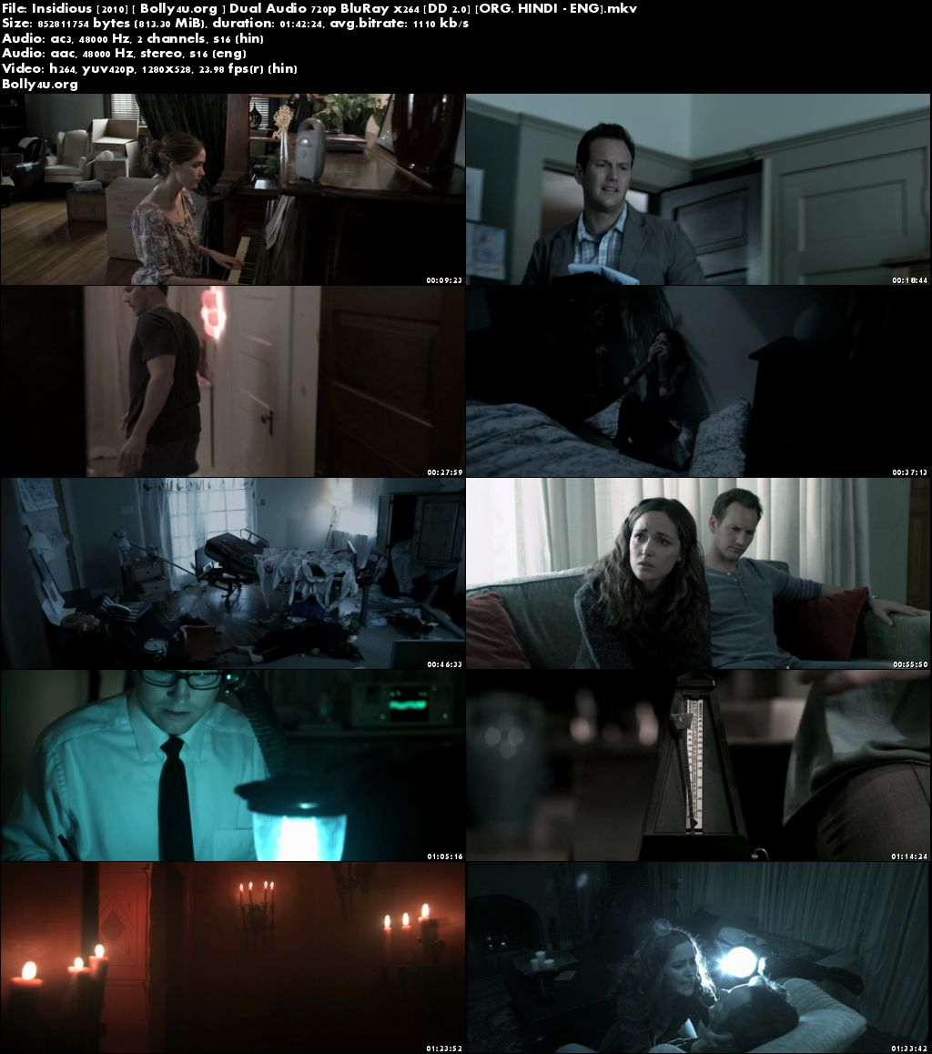 Insidious 2010 BRRip 800Mb Hindi Dual Audio 720p x264 Download