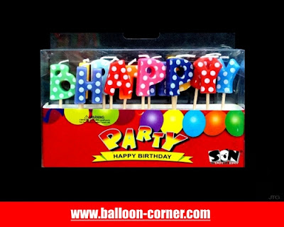 Lilin Ultah Motif HAPPY BIRTHDAY Polkadot (NEW MODEL)