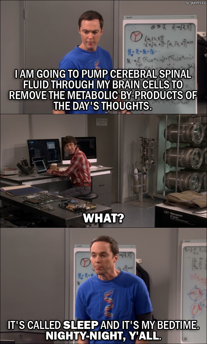 12 Best The Big Bang Theory Quotes from The Dependence Transcendence (10x03) - Sheldon Cooper: I am going to pump cerebral spinal fluid through my brain cells to remove the metabolic by-products of the day's thoughts. - Howard Wolowitz: What? - Sheldon Cooper: It's called sleep and it's my bedtime. Nighty-night, y'all.
