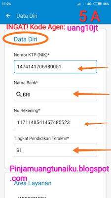 Lankah ke lima mengajukan pinjaman uang lewat Aplikasi pinjaman Tunaiku kode agen uang10jt