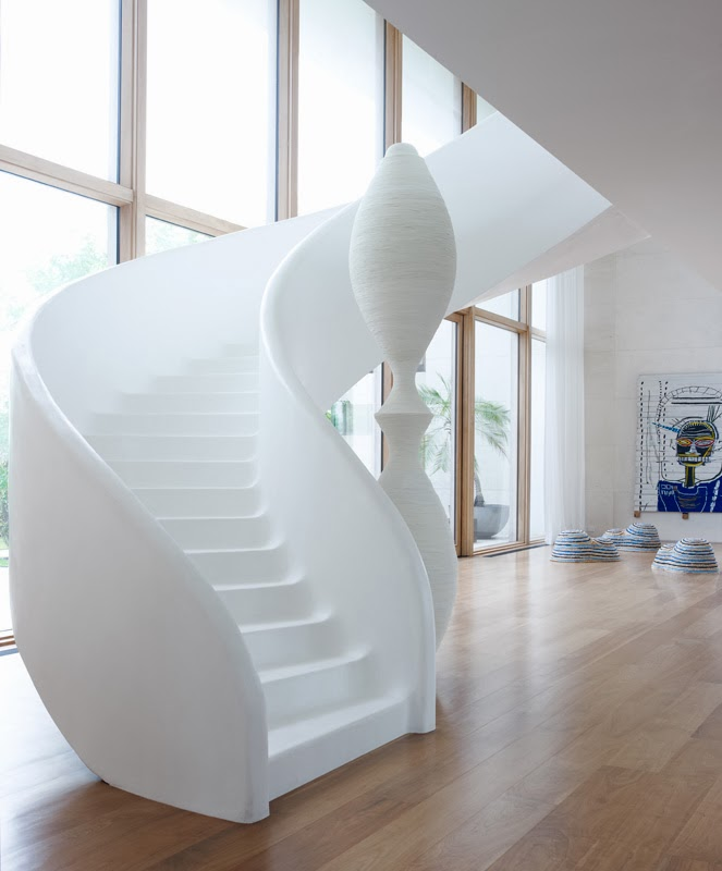 Stairs in Modern Mansion in Southampton by Sawyer and Berson