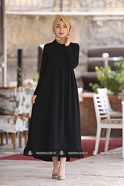 Ala Kadın'dan tesettür siyah elbise kombin önerileri