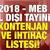 2018 İl Dışı Kontenjan Listeleri Tüm Branşlar