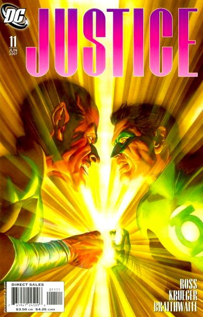 close-up shot of GL Hal Jordan facing off against Sinestro, yellow energy beaming everywhere from their touching rings